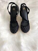 Victoria Secret Womens Black Lace Ankle Strap Espadrille Wedges