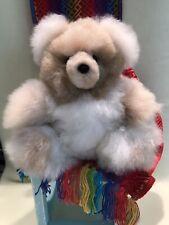 """Tan Cream Alpaca Fur Teddy Bear from Peru 10"""" Plush Soft *FREE GIFT*"""