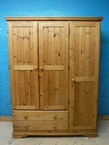 DOVETAILED CHUNKY SOLID WOOD 3DOOR 2DRAWER TRIPLE WARDROBE H187 W140cm- SEE SHOP