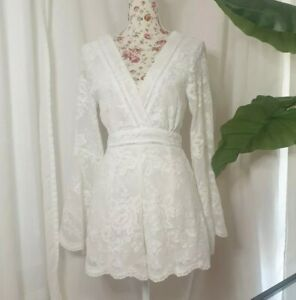 Indikah Playsuit White Size 8 Lace Romper Boho Bridal Gypsy Floral one-piece