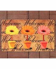 Spring Daisy Garden Outdoor Welcome Mat Colorful Flowers In Pot Welcome Rug