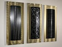 Set of Three - Abstract Gold/Black Modern Contemporary Metal Wall Art Accents