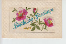 Embroidered silk postcard - Birthday Greetings