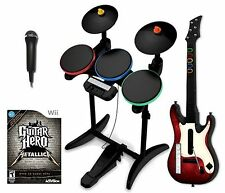 NEW Wii/Wii-U Metallica Guitar Hero Band Set w/Drums/Guitar/Game bundle nintendo