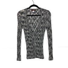 MISSONI Womens Gray Black Zigzag Stripe Cardigan Size 44