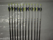 12-- EASTON POWER FLIGHT 400 Carbon Arrows Dip/Crest Blazer blue & yellow vanes