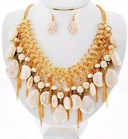 Cascade Gold Chains Cream Stones Beads Western Necklace Set Fashion Jewelry