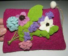 AVELINE MAGENTA PINK 3D FLORAL DIMENSIONAL FLOWERS FELT ZIPPERED POUCH BAG