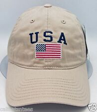 Usa American Flag Cap Us Military Unconstructed Dad Hat Adjustable Osfm Beige