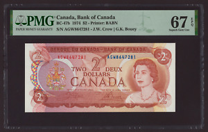 Canada 🇨🇦 1974 - $2 Crow Bouey Sig. - PMG UNC 67 EPQ ***HIGH GRADE TOP POP***