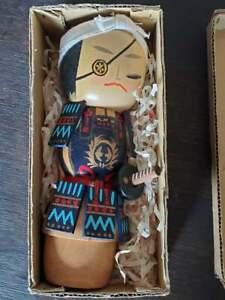 Vintage Japanese Wood Kokeshi Samurai Doll in Box