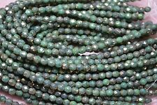 Czech Fire Polished 4mm round faceted glass beads- Green Turq Bronze Picasso