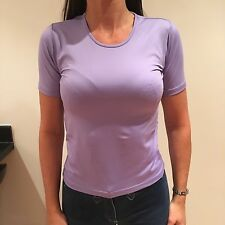 Simon Jersey Lilac Short Sleeved Stretchy Ladies Top Size 8