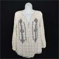 Joie Blouse White Women's Small Long Sleeve V-neck Tassels Embroidered Cotton