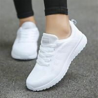 Women Casual Breathable Walking Mesh Flat Shoes White Sneakers Gym Shoes Sport
