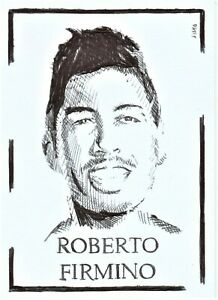 ACEO Art Sketch Card Sportsman Footballer Roberto Firmino Ink Drawing