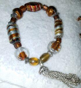 Murano glass Bracelet copper and silver foil
