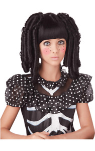 Girls Baby Doll Black Wig Halloween Fancy Dress Costume Accessory