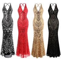 Angel-fashions Women's Halter Pattern Sequin V Neck Sheath Evening Dress 381