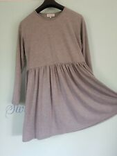 Ladies Smock Dress Flared Long Sleeve Grey Size 16
