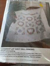 """New ListingBucilla Stamped Cs Kit """"Lovebirds"""" Lap Quilt Wall Hanging 45 X 45 #40567 opened"""