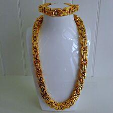 14mm Bizantino Collar + Pulsera Cadena Collar Acero Oro Collar