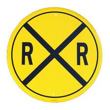 New Railroad Crossing Round Metal Tin Sign Original RR X Train Hobby Room Decor