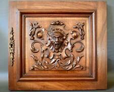 Architectural Small French Antique Hand Carved Wood Wall Panel Door Grotesque