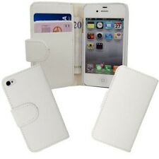 Apple iphone 4 4s PU Leather wallet flip case pouch book cover white card slot