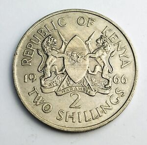 1966 Kenya 2 Shillings Without legend Copper-nickel Coin A534