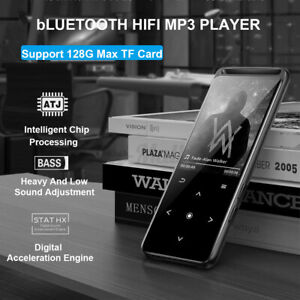 MP3 MP4 Player bluetooth HIFI FM Radio 16GB Support 128GB Micro SD Card Black TF