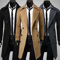 Mens Slim Fit Trench Coat Winter Long Jacket Outwear Double Breasted Overcoat
