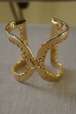 NEW Designer Rachel Zoe Gold Chain Stitch Thick Cuff Bracelet Retired