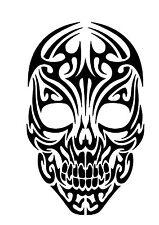 High Detail Tribal Skull Airbrush Stencil - Free UK Postage