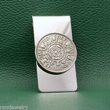 English Florin Coin Money Clip, Vintage Tudor Rose Shamrock England UK Britain