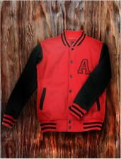 Men's Red Letterman Baseball Snap Varsity Jacket College School Team Jersey Coat