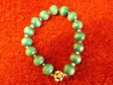Bracelet (Nat) Lot # 10 Green Bead and Rhinestone Stretch