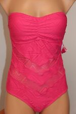NWT Jessica Simpson Swimsuit 1 one piece Crochet Sz S Strap Passion