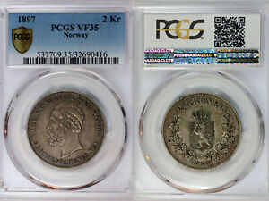 1897 Norway 2 Kroner PCGS VF35