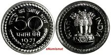 India-Republic PROOF 1971 B 50 Paise Mintage-4,375 Mumbai Mint KM# 58.3