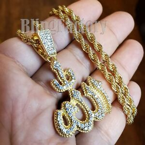 """Iced Hip Hop Gold PT Muslim Allah Pendant & 4mm 24"""" Rope Chain Fashion Necklace"""