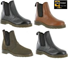 Grafters LEATHER Chelsea Dealer Air Cushioned Boots Men's Boy's Size 2 -14 UK