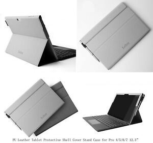 """For Microsoft Surface Pro 7 Pro 6 12.3""""PU Leather Stand Folding Folio Case Cover"""