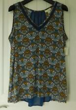NWT Tru Self Women's Paisley Summer Top, V-Neck Blue and Gold Size 1X $3.25 SH