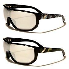 Oversized Biohazard Shield Camouflage Mens Womens Sunglasses Mirrored Lenses