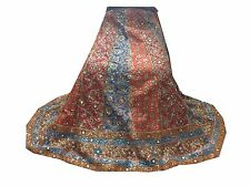 VINTAGE INDIAN WOMEN WEDDING LEHENGA BEADED ART SILK ORANGE&BLUE SKIRT, L-10