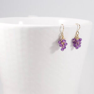 Amethyst Earrings 14k Gold Filled Small Delicate Beaded Dangle Cluster