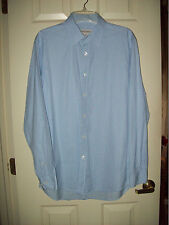 PRONTO UOMO COTTON MEN'S DRESS SHIRT LARGE 16 LONG SLEEVE 34/35 Blue PIN STRIPE