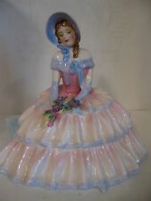 Royal Doulton Day Dreams Lady Figurine Hn 1731 on Bench with Lap Full of Flowers