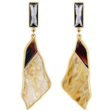 Very Long Wave Design Amber Brown Grey Crystal Stone Women Drop Earrings E1289